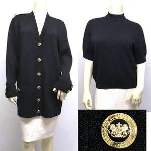 ST JOHN Santana Knit 2PC SET Cardigan Jacket Top L